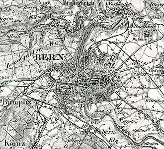 Cartography of Switzerland - Bern on the 1907 Dufour map.