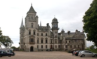 Dunrobin Castle - The west entrance of Dunrobin Castle, with the portion added by Charles Barry in the foreground.