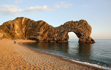 Natural limestone arch in Dorset, UK.