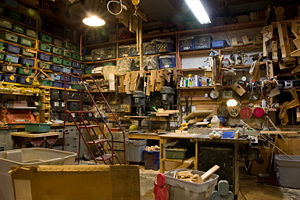 Workshop - This museum workshop containing tools and supplies has been in use for decades.
