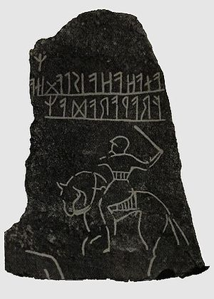Möjbro Runestone - Tracing of the inscription by Oscar Montelius (1905).