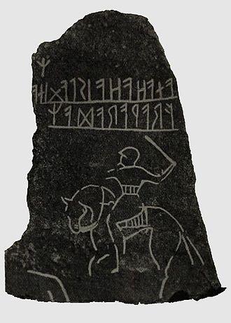 Möjbro Runestone - Tracing of the inscription by Oscar Montelius (1905).