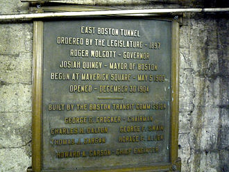 State (MBTA station) - Plaque noting the completion and opening of the East Boston Tunnel, located at State