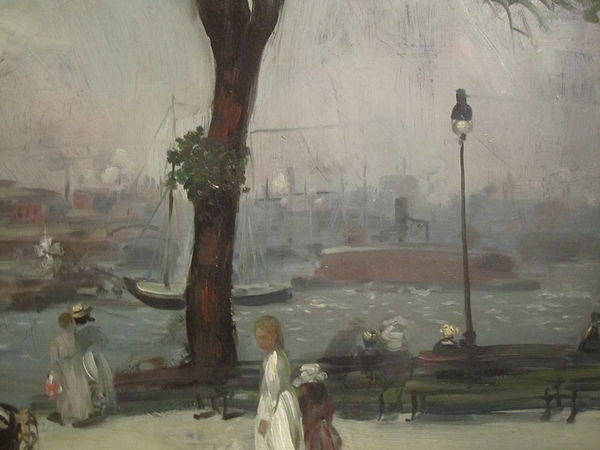 William Glackens' 1902 painting of East River Park, in the Brooklyn Museum East River Park painting IMG 3773.JPG