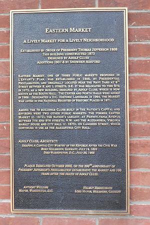 Eastern Market, Washington, D.C. - Plaque at the entrance of Eastern Market