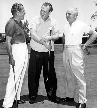 Wilbur Clark - Ed Sullivan, Red Skelton and Wilbur Clark on the Desert Inn hotel's golf course, 1959