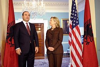 Deputy Prime Minister of Albania - Image: Edmond Haxhinasto and Hillary Clinton