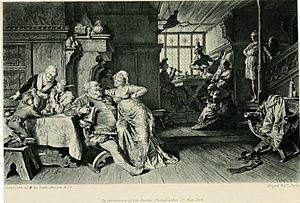 Henry IV, Part 2 - Falstaff with Doll Tearsheet in the Boar's Head tavern, illustration to Act 2, Scene 4 of the play by Eduard von Grützner