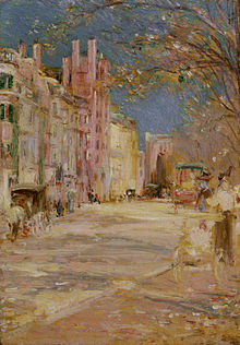 A bright painting of a Boston street scene, rendered with blurred impressionistic strokes. A woman pushes a baby carriage along a sidewalk in the foreground, and in the background several carts, store fronts, and people walking on the opposite side of the street are visible. Leafy trees stretch into the visible, blue sky from the right side of the painting.