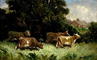 Untitled (five cows in pasture, rooftop in background)