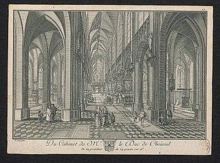 Een gotische kerk, gezien van binnen