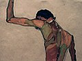 Egon Schiele. Standing Male Nude with Arm Raised, Back View (1910) — detail (24463734014).jpg