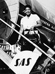 Ella Fitzgerald, jazz singer, USA, disembarking Convair 440 Metropolitan.jpg