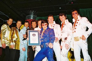 A group of Elvis Presley Tribute Artists, who ...