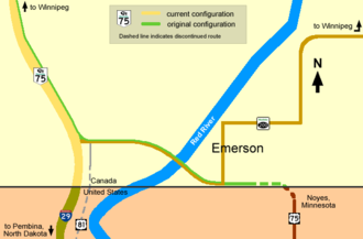 Emerson, Manitoba - Highways 75 and 200 at Emerson, current and original configurations
