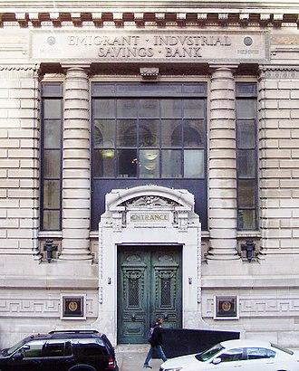 Emigrant Industrial Savings Bank building - Image: Emigrant Industrial Savings Bank entrance