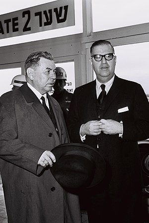 Emil Jónsson - Emil Jónsson with Abba Eban during a visit to Israel, 1966