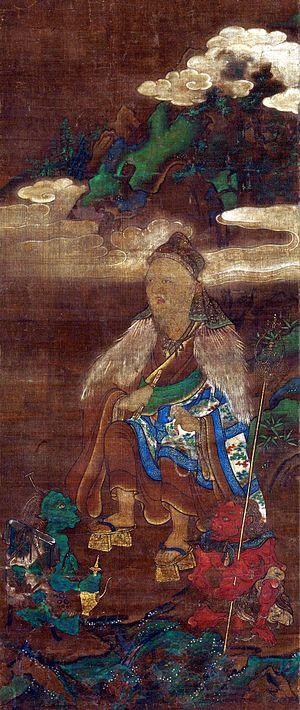 En no Gyōja - Muromachi period portrait of En no Gyōja accompanied by two demons providing water and wood