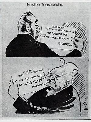 Bjørnstjerne Bjørnson - Illustration from Vikingen of a telegram exchange between Michelsen and Bjørnson.