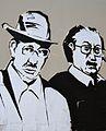 Enric Valor i Joan Fuster al mural de la facultat de Filosofia, València.JPG