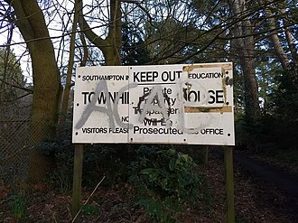 Townhill Park House - The entrance sign for the 1969 school still stands at the end of River Walk