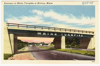 Interstate 95 in Maine - Early postcard showing entrance at Kittery