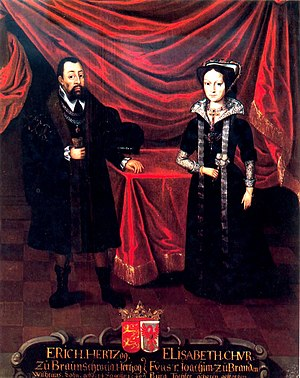 Eric I, Duke of Brunswick-Lüneburg - Eric with his second wife Elisabeth ca. 1530