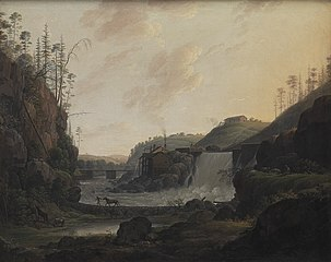 River Landscape with a Waterfall near Bogstad in Norway