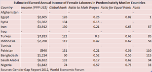 Female labor force in the Muslim world - Image: Estimated Earned Annual Income of Women in 11 Majority Muslim Nations and the Female to Male Ratio of Workers