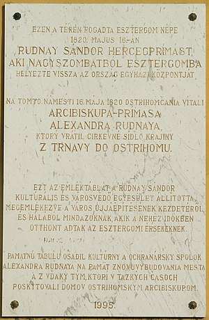 Alexander Rudnay - Bilingual (Hungarian and Slovak) plaque in Esztergom