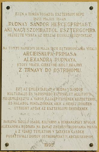 Alexander Rudnay - Bilingual (Hungarian and Slovak) plaque in Esztergom