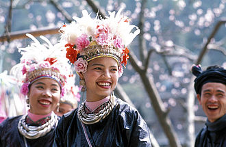 Peopling of Thailand - Tai-Dong people of Guizhou, China, in traditional dresses, similar to the existing tribe in northern provinces of Thailand