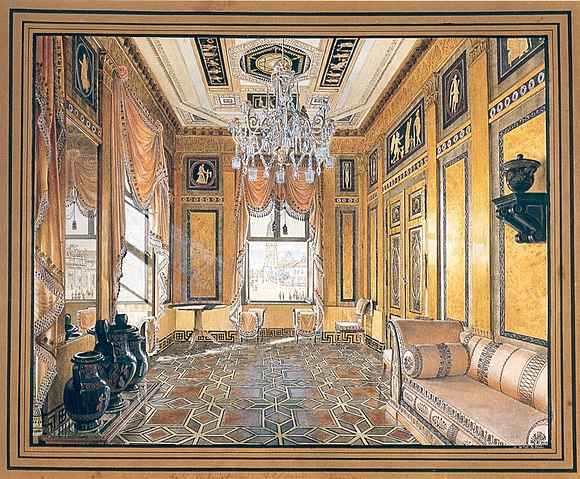 """The Etruscan room"", from Potsdam (Germany), illustration by Friedrich Wilhelm Klose in circa 1840 Etrurisches Zimmer.jpg"