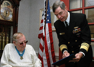 Eugene B. Fluckey - Fluckey, at left, being visited by Vice Admiral Charles Munns in 2006