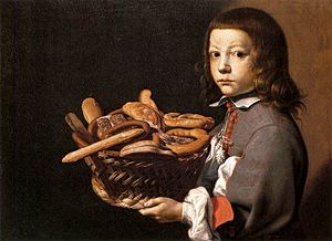 Evaristo Baschenis - Boy with a Basket of Brea...
