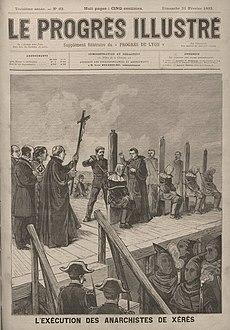 Ejecución de los condenados por la revuelta anarquista deJerez de la Fronterade 1892. Ilustración del periódico francésLe Progrès Illustré.
