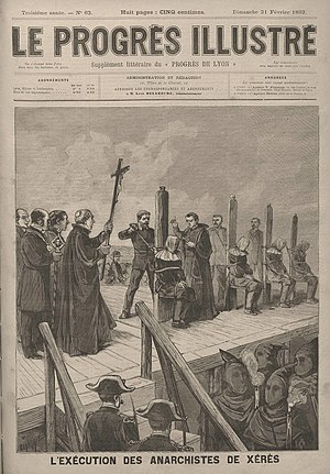 Capital punishment in Spain - Issue of Le Progres depicting the executions of anarchists in Xeres in 1892 by use of the garrote.