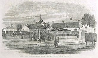 Exmouth railway station - The opening of the station in 1861 in the Illustrated London News
