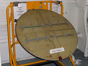 AN/AWG-9 - The radar antenna of an AN/AWG-9 on display in the USS Hornet Museum