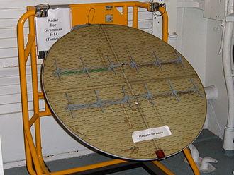 AN/AWG-9 - The radar antenna of an AN/AWG-9 on display in the USS Hornet Museum