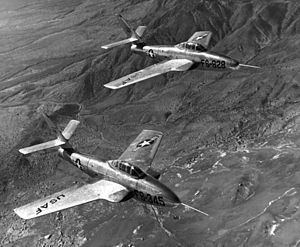 Republic F-84F Thunderstreak - YF-84F and YRF-84F prototypes in 1952.