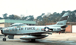 Soesterberg Air Base - North American F-86F-25-NH Sabre, AF Ser. No. 52-5385. This aircraft is now on display at the Militaire Luchtvaart Museum, Kamp Zeist, Netherlands.