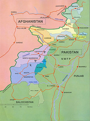 Waziristan - North (purple) and South (blue) Waziristan and surrounding Federally Administered Tribal Areas and provinces