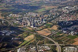 """""""Bürostadt Eschborn"""" Office district of Eschborn seen from a Lufthansa B737."""