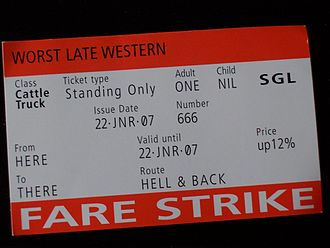 Great Western Railway (train operating company) - Fake tickets distributed by protestors on 22 January 2007