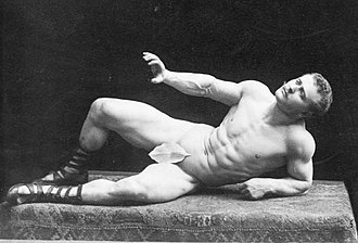 Eugen Sandow - Sandow models the statue The Dying Gaul, illustrating his Grecian Ideal.