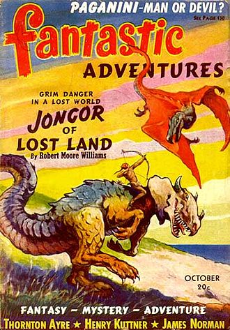 "Robert Moore Williams - Williams's first ""Jongor"" story took the cover for the October 1940 issue of Fantastic Adventures, illustrated by J. Allen St. John"