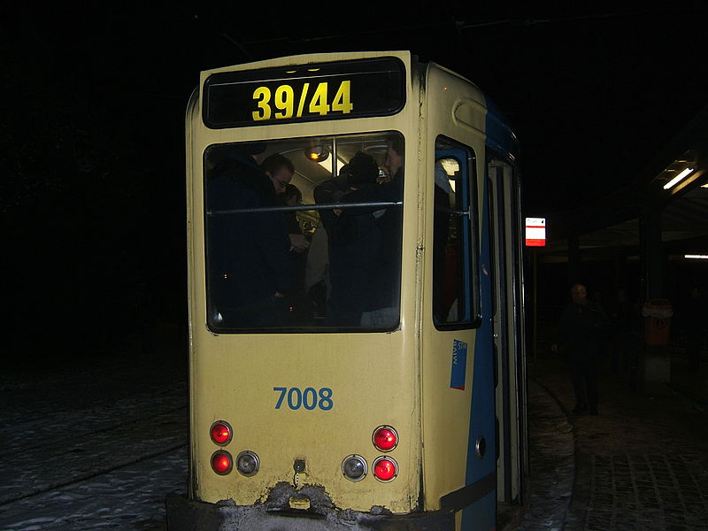 The Brussels 7000 class of four-axle PCC tram cars did their last revenue-earning services on February 12, 2010, on their familiar routes 39 and 44. They were the last of a class of 171, built from 1951 to 1971, partly using second-hand trucks and electric equipment from the United States (Kansas City and Johnstown, PA). They will now make place for larger articulated cars of classes 2000, 3000, 4000, 7700 and 7900 (the latter two still featuring PCC technology).  7008 (built 1951) was the last to enter the Haren depot, where the vehicles are being stored pending disposal.  A few of the class remain in service for training and service duties.  The PCC tram technology has been one of the major contributions of the United States to the world.