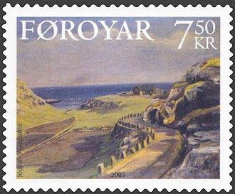 Hoyvík - Jógvan Waagstein: Kýrdalur í Hoyvík 1930 (Village of Hoyvík) Stamp FO 532 of Postverk Føroya Date of issue: 19 September 2005