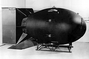 "Nuclear weapon - The first nuclear weapons were gravity bombs, such as this ""Fat Man"" weapon dropped on Nagasaki, Japan. They were large and could only be delivered by heavy bomber aircraft"